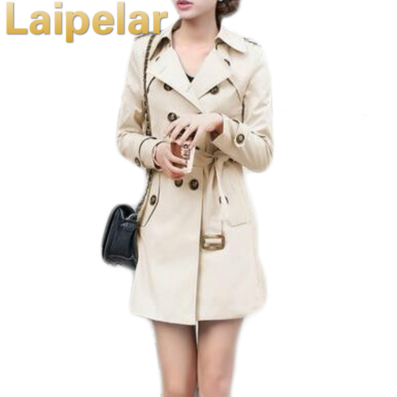 1PC Trench Coat For Women Double Breasted Slim Fit Long Spring Coat Casaco Feminino Abrigos Mujer Autumn Outerwear Coats