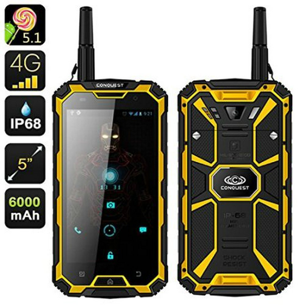 """CONQUEST S8 IP68 Waterproof Phone 6000mAh Battery GPS NFC PTT 4G FDD LTE 13MP Quad core 5"""" HD GPS FDD Walkie Talkie 3G 32G S6 A1"""