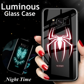 Luminous Glass Case For Samsung Galaxy Note 9 S8 S9 Plus Black Panther Marvel Cover for Samsung Galaxy Note9 Note 8 Iron Man