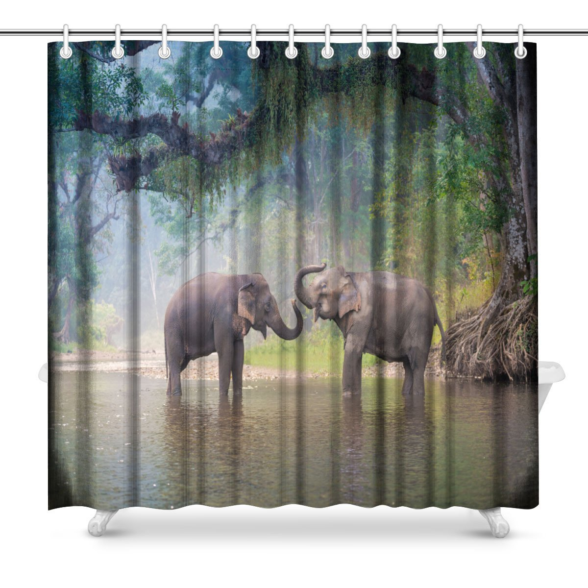 Asian Elephant in Natural River at Deep Forest, Thailand Bathroom Shower Curtain Accessories, 72W X 72L Inches Extra Long