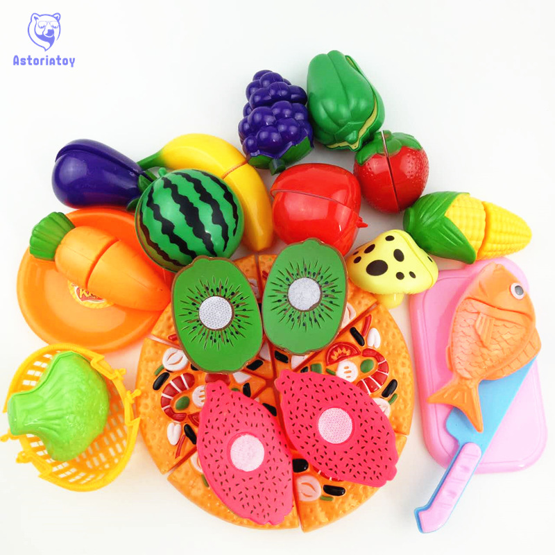 24 pieces / sets of plastic fruit and vegetable pizza kitchen cutting toys early development and education baby childrens toys