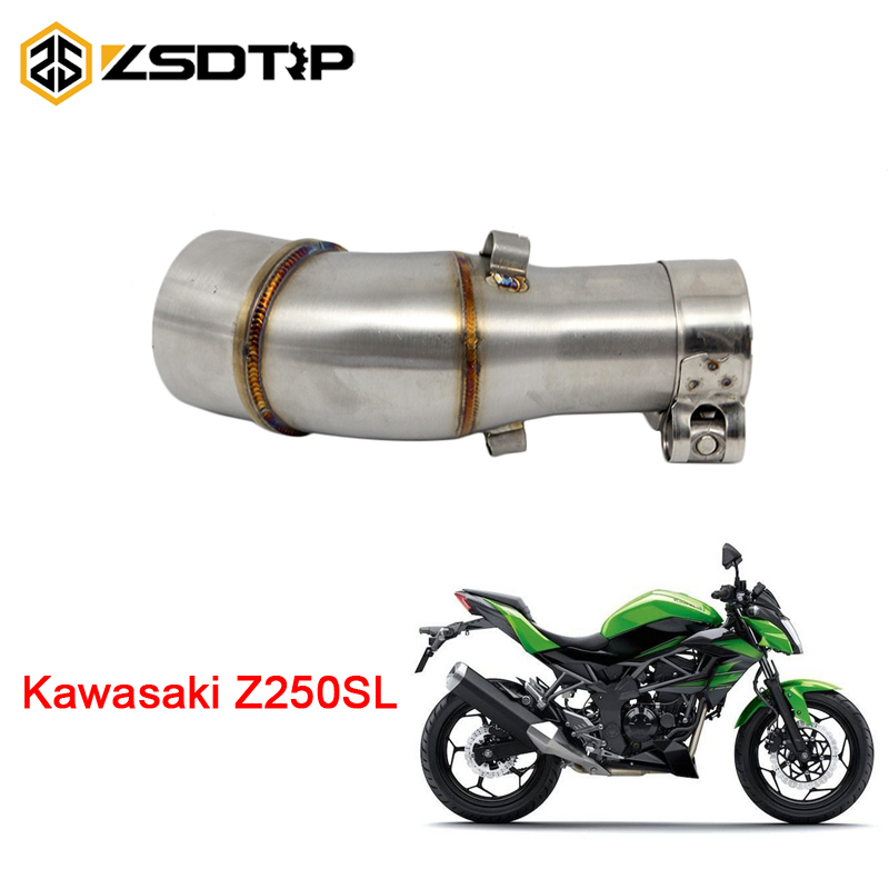 ZSDTRP 38mm Motorcycle Exhaust Middle Pipe With Clamp For Kawasaki NINJIA250SL Z250SL Without Exhaust