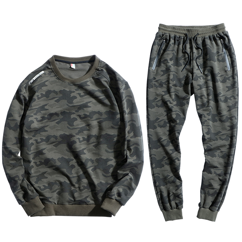 145kg Can Wear Sport Suit Men Loose Sportswear Camouflage Hip Hop Sweatshirt Set Cotton Sportsuit 8XL 9XL Run Gym Hoodies Sets цены