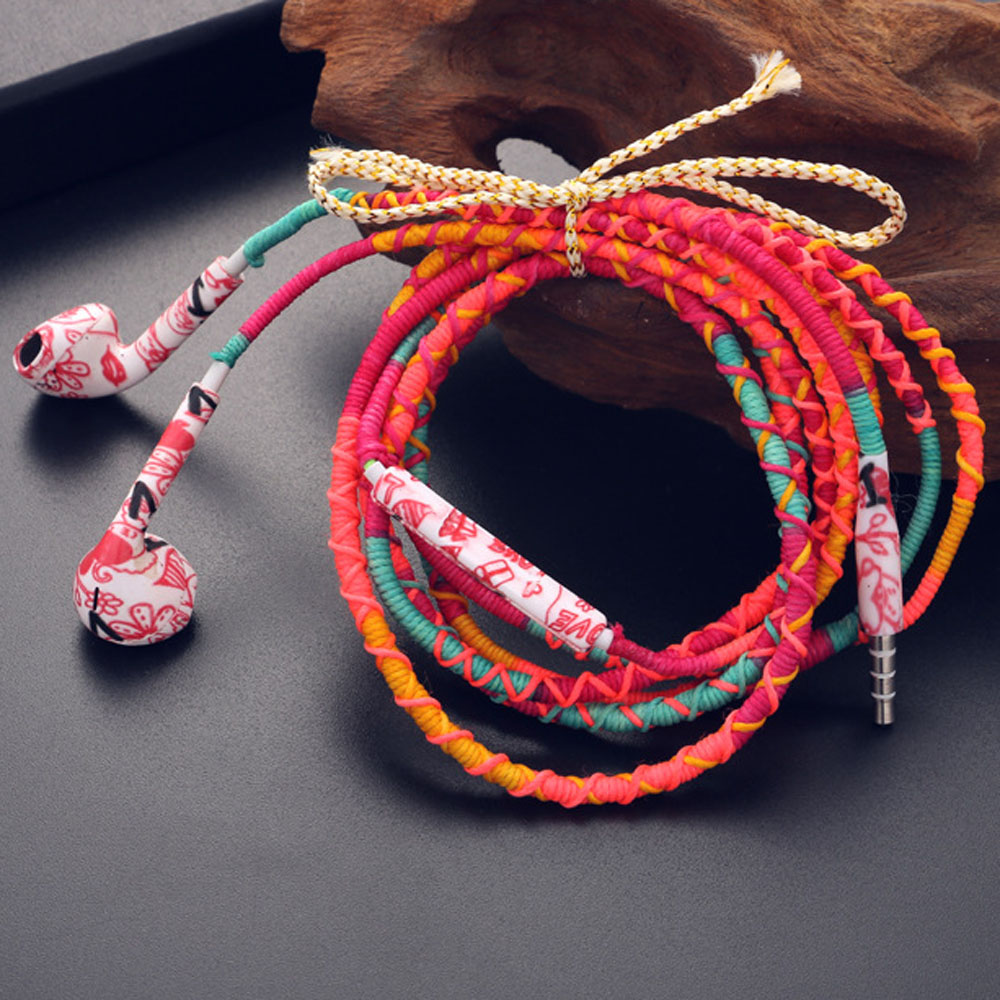 3.5mm Wired Braided Bracelet Earphone With Microphone Sport Casual Beach Style Headphone For iPhone For Xiaomi/Galaxy S8 S7 S6 ...