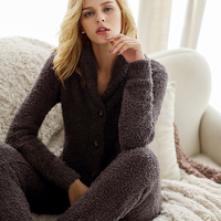 2016 New Pajamas Suit High End Super Soft Single Breasted Suit Lapel Home Furnishing Two Piece