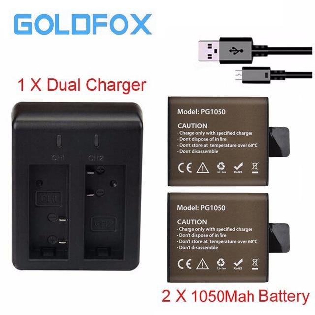 For EKEN 2pcs Battery + Dual Charger For EKEN H9 H9R H3 H3R H8PRO H8R H8 pro V8S SJ4000 SJ5000 action camera