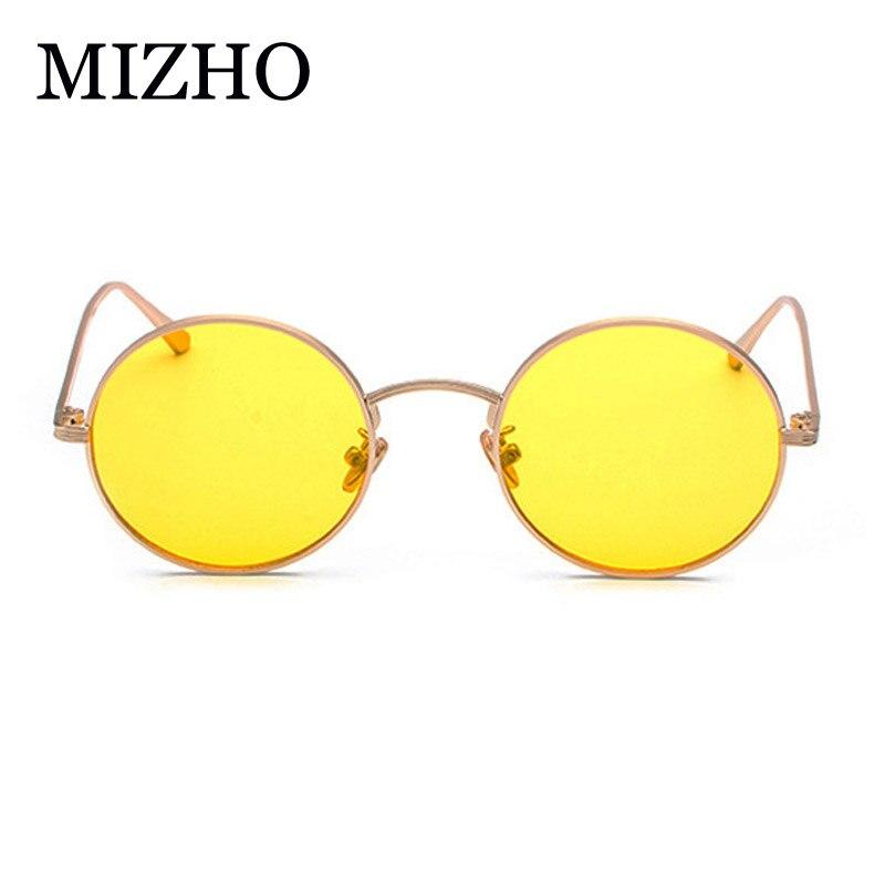 97fc843e1e7 MIZHO UV Polarized Sunglasses Women Retro Round Glasses Yellow Lense Metal  Frame Punk Glasses Coating Eyewear
