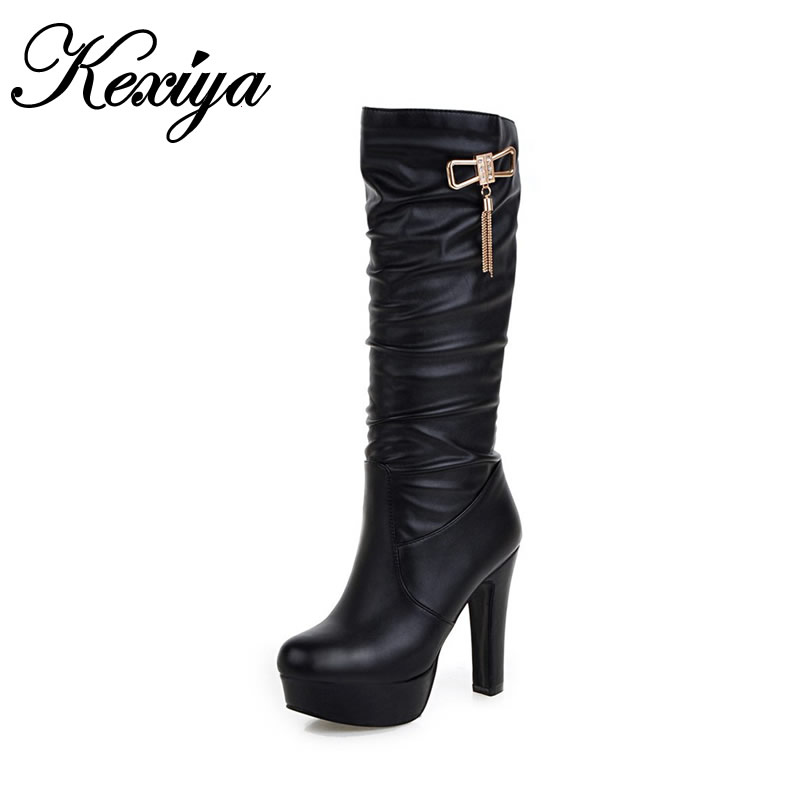 2016 Big size 31-45 winter women botas Sexy Round Toe platform high heel shoes fashion black Slip-On Knee-High boots m-10 muffin wedge high heel stretch women extreme fetish casual knee peep toe platform summer black slip on creepers boots shoes
