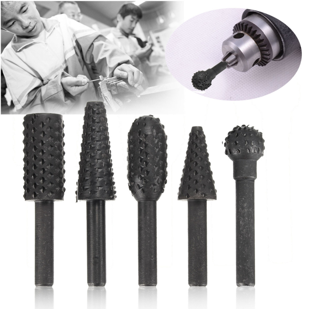 5pc Set Rotary Rasp File 1/4 Shank Burr File Rasp Woodworking Drill Bits Hss Rotary File Wood Drilling Carving Artifact Tool