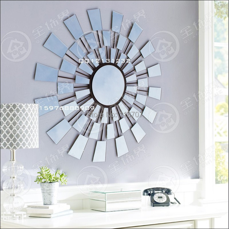 Buy metal glass sunburst wall art for Modern mirrored wall art