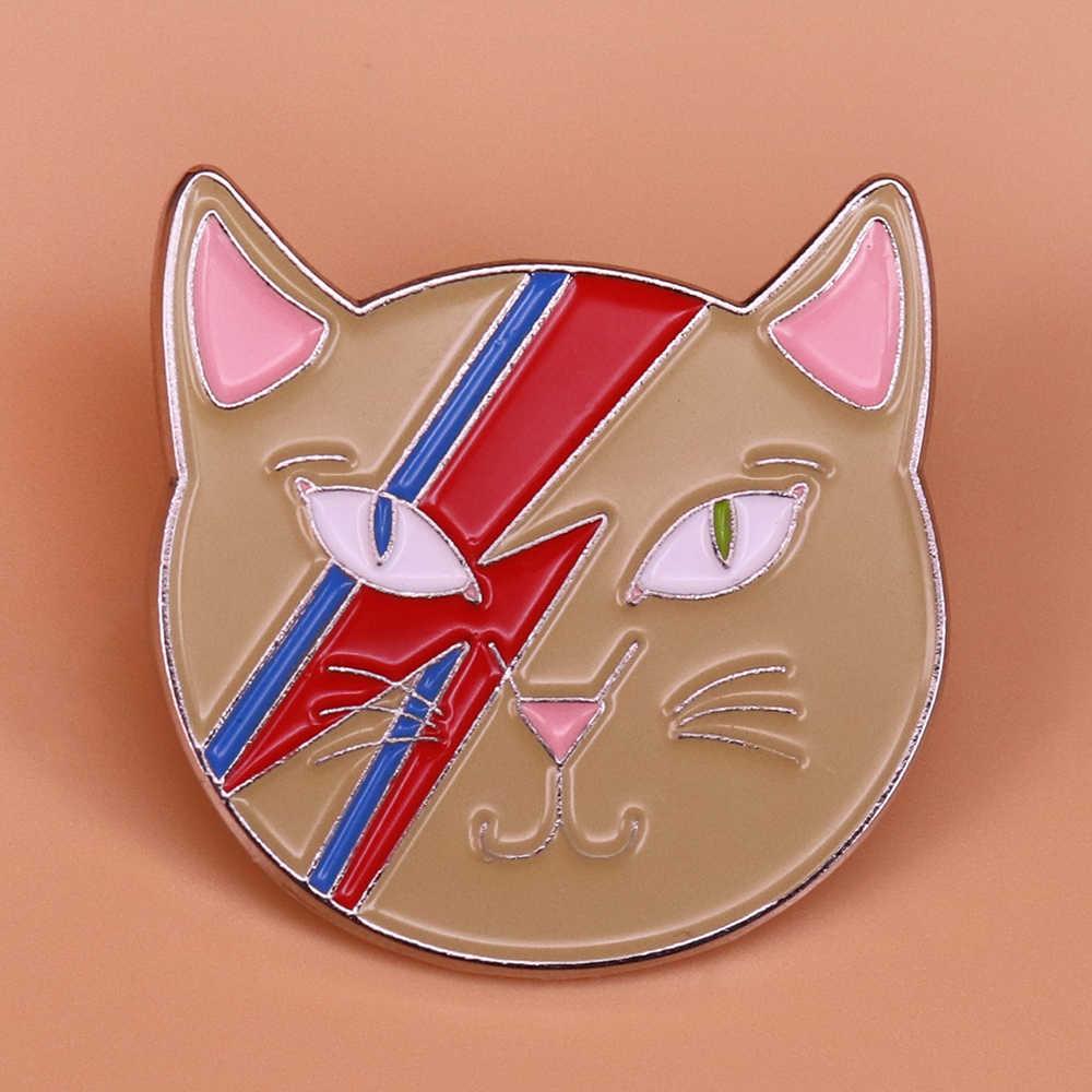 b19fba63557 Detail Feedback Questions about David Bowie enamel pin ziggy stardust cat  brooch lightning badge Bowie fan art jewelry cat lover gift women accessory  on ...