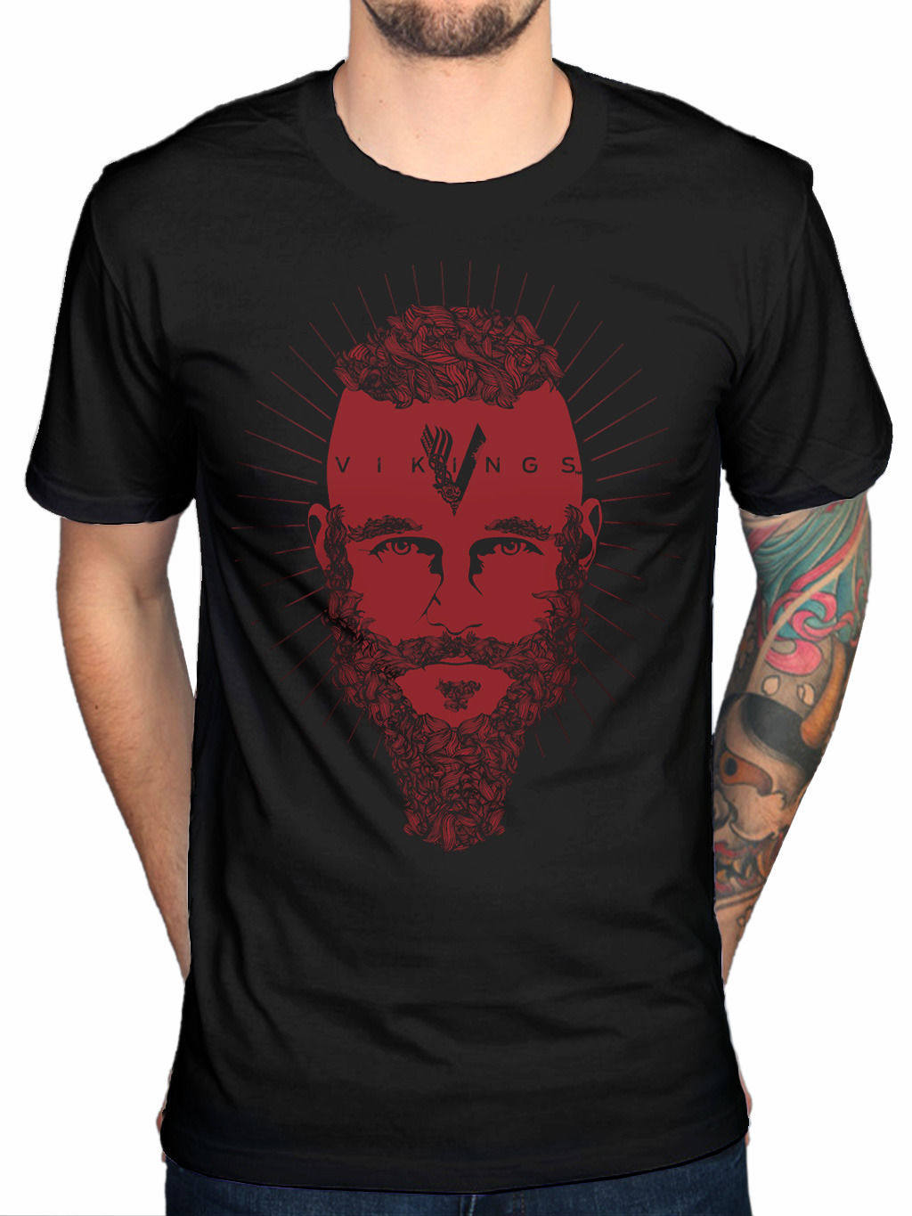 Official Vikings Ragnar Face T-Shirt TV Series History Channel Fan Merchandise Top Quality 2018 New Brand MenS T Shirt