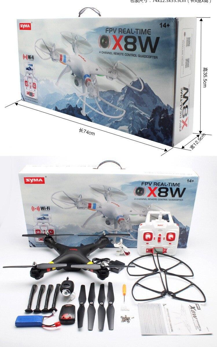 Juguetes de control remoto Aéreo profesional rc quadcopter SYMA X8w drone con cámara réflex HD de 2,0 MP