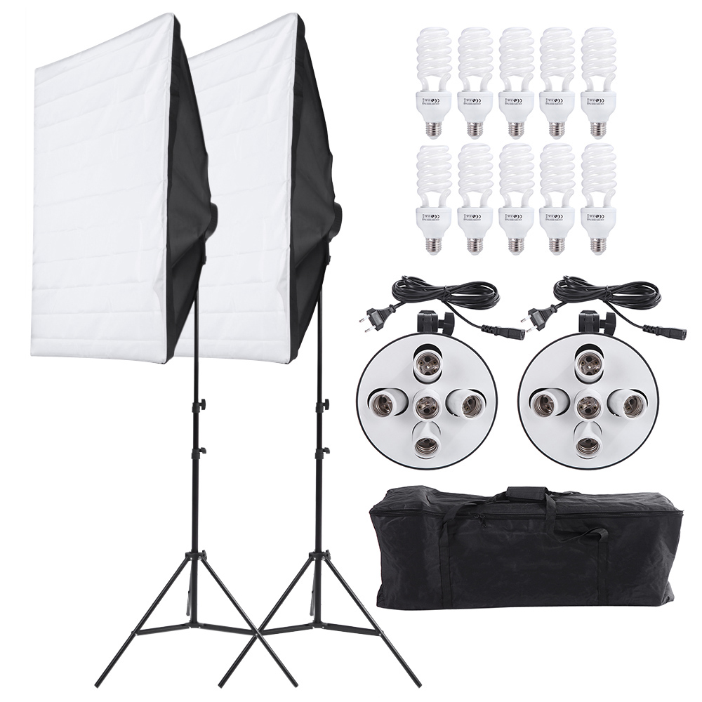 Andoer Photo Studio Kit Photography Video Lighting Equipment Set Light Stand Two 50 70cm Softbox Ten