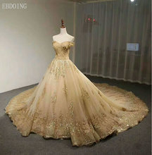 Vestidos De Novia A-Line Plus Size Wedding Dress Boat Neck Short Sleeves Royal Train Lace Up Bride Grow With