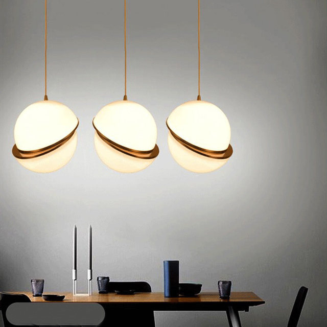 Modern Glass Ball LED Pendant Lights Lamp Creative Restaurant Bedroom Bedside Balcony Decor Art Lighting Fixtures