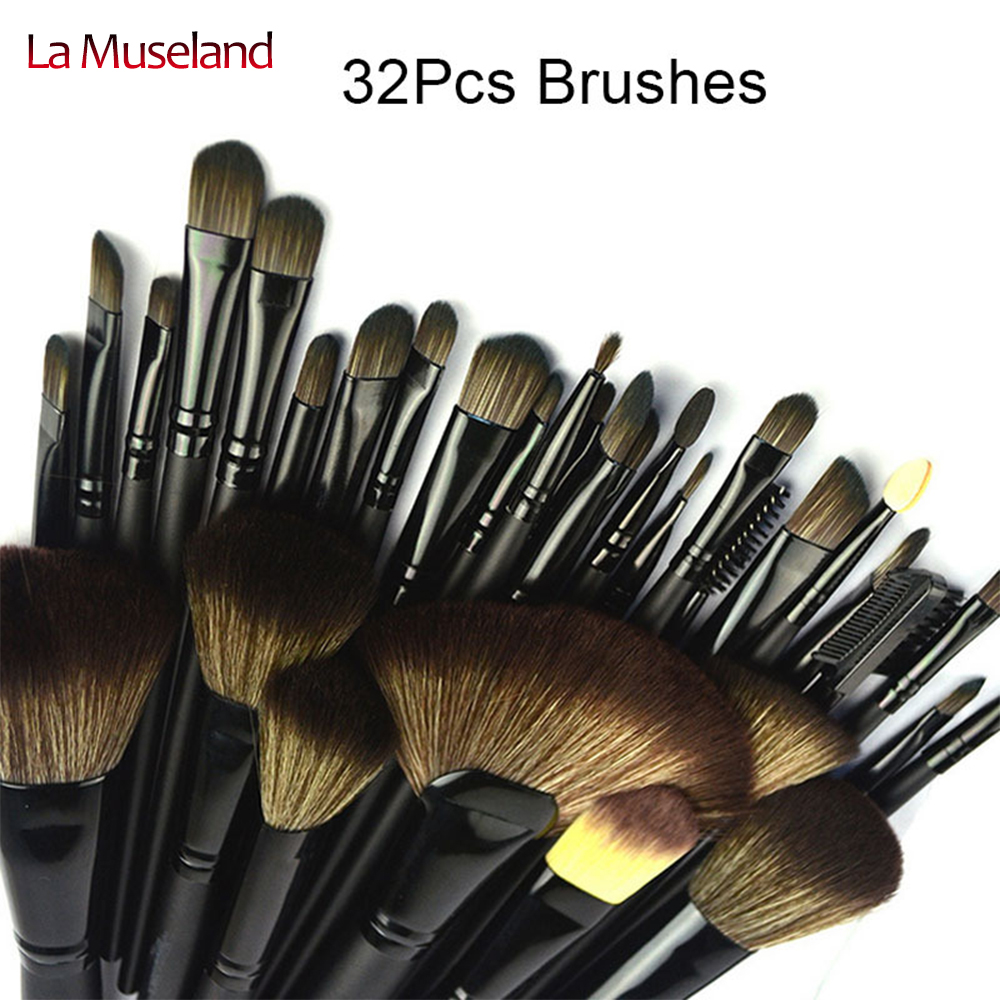 TOP Quality! Professional 32 PCS Cosmetic Facial Make up Brush Kit Makeup Brushes Tools Set with Black Leather Case #1432 игра bondibon науки с буки брахиозавр bb1072 550453 3