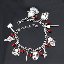 1pcs a Chucky Face Stephen Kings IT Penny Wise Jason Hockey Horror charm bracelet For Woman Halloween Jewelry Gifts