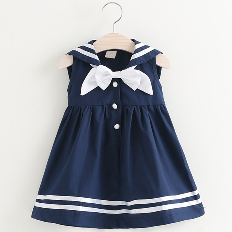 Girls College Style Dress 2019 Summer Sailor Suit Button Decoration Girl Dress Square Big Back Bow  Dress 3-7Y Students Clothes