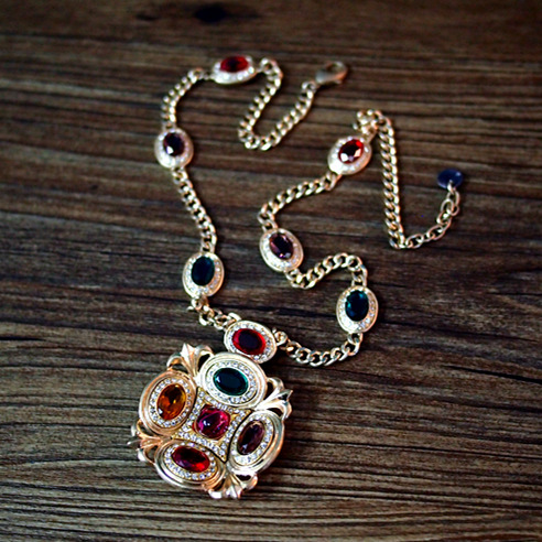 2015 DG rhinestone Medieval style Baroque antiques Color Crystal long necklace Women jewelry accessories wholesale birthday gift