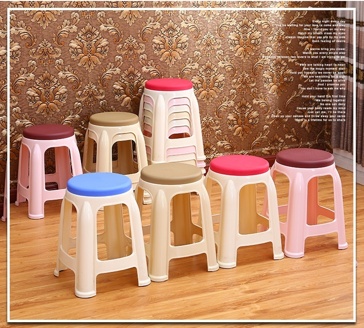 European and American country bar simple plastic PP stool Living room change shoes stool wholesale and retail red gray color цена