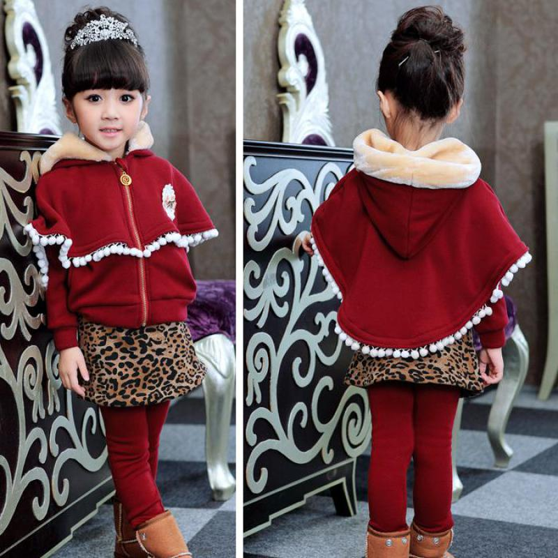 все цены на 2 Pcs Fashion Baby Girls Clothes Children Clothing Set Kids Long Sleeve Pullover Coat + Leopard Pants Legging Winter Outfits Set