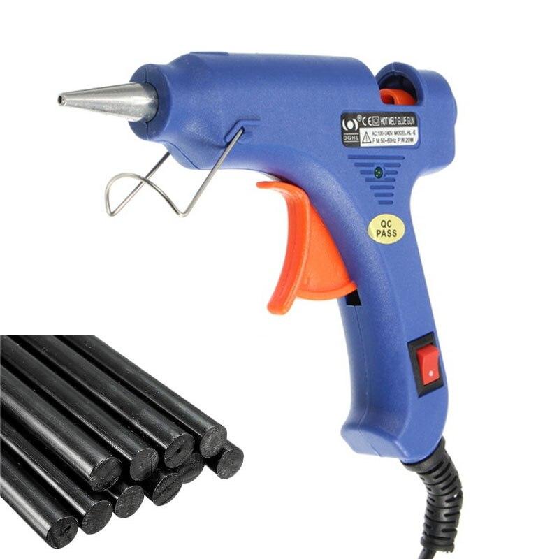 Switch-type 20 Вт термоклей пистолет Электрический ЕС Plug Медь сопла нагреватель с 10 шт. 7 мм * 200 мм Клей-карандаш DIY ручной инструмент
