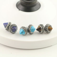 5pair Silver Mixed Stone Spikes Stud Earrings, Pave Crystal Rhinestone Charm Earrings Jewelry Finding