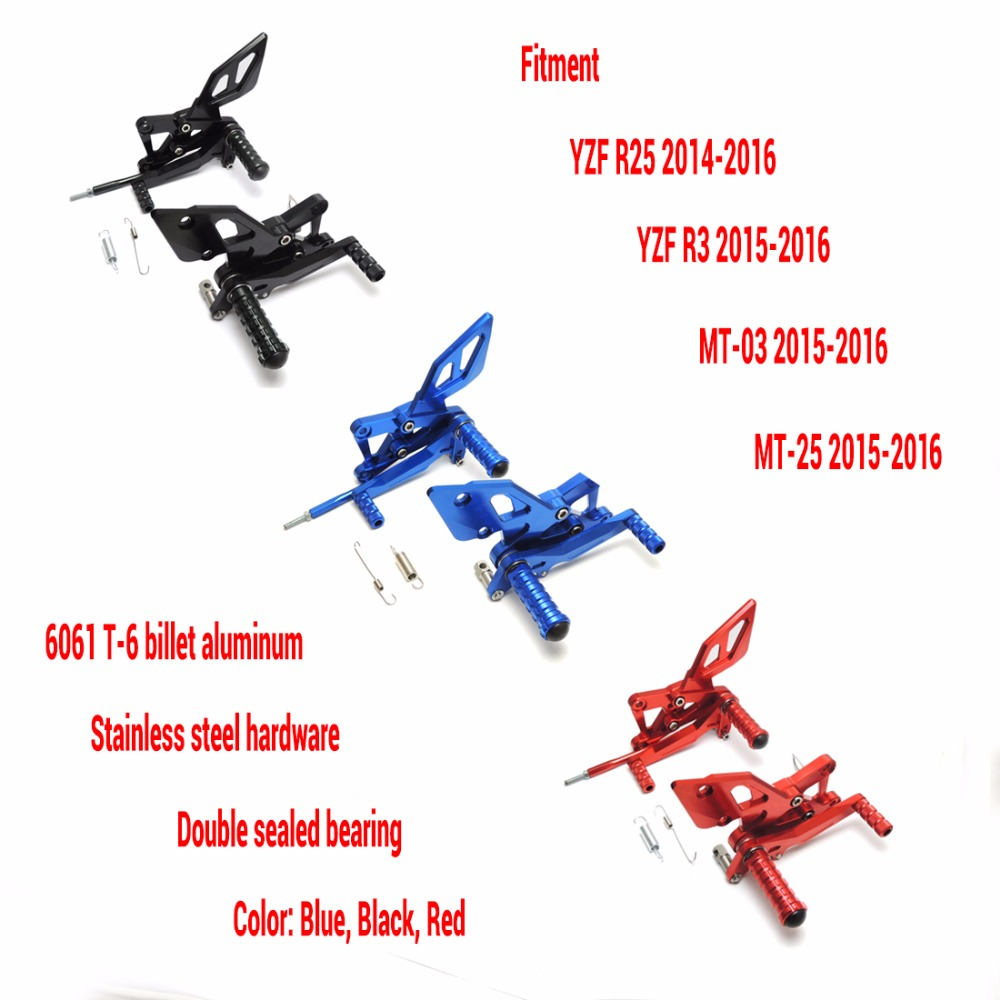 KEMiMOTO For YAMAHA YZF R25 R3 MT-03 MT-25 2015-2016 CNC Adjustable Rearsets Foot Pegs Rest Rear Set Black Blue Red