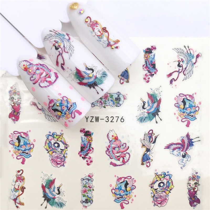 1 Sheet Cute Unicorn Flamingo Plant Designs Nail Sticker Flower Adhesive DIY Manicure Slider Nail Art Tips Decorations Decals
