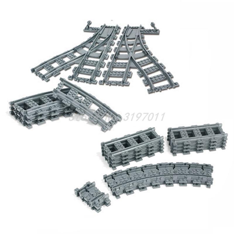 Compatible Legoedly City Trains Flexible Track Rail Crossing Straight Curved Railway Building Blocks Set Bricks Model Kids Toys