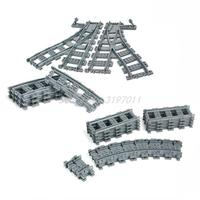 Compatible Legoedly City Trains Flexible Track Rail Crossing Straight Curved Railway Building Blocks Set Bricks Model