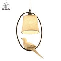 BDBQBL Metal Ring&Bird Pendant Lights Beige Cloth Lampshade E14 Bedroom Hanging Lamp 90 260V Vintage LED Living Room Hanglamp