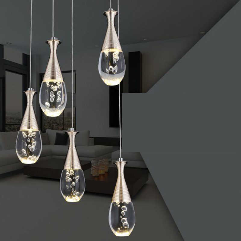 New modern creative acrylic drop type led dining room chandelier simple personality 5 restaurant bedroom chandelier led fixture
