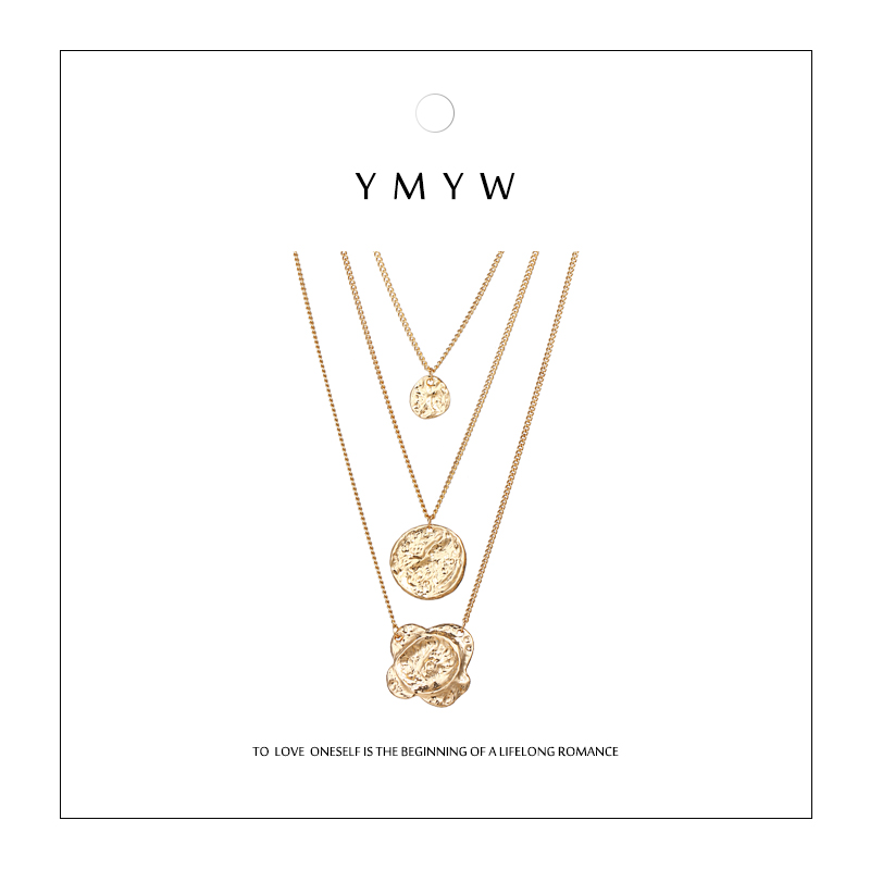 YMYW Vintage Fashion Personalized Flower Round Gold Silver Pendant Multilayer Necklace Metal Charms Necklace Collier Women Gift