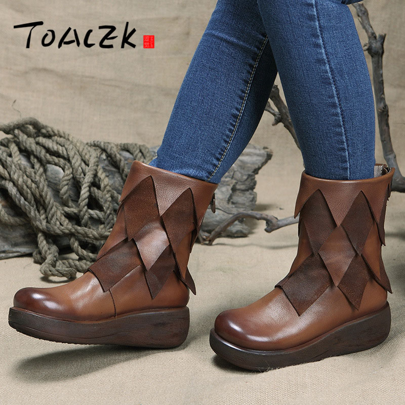 New women Genuine Leather Boots Vintage Style Flat Booties Soft Cowhide Women's Shoes side Zip Ankle Boots Female Winter maylosa 2017 vintage style genuine leather women boots flat booties soft cowhide women s shoes zip ankle boots warm winter shoe