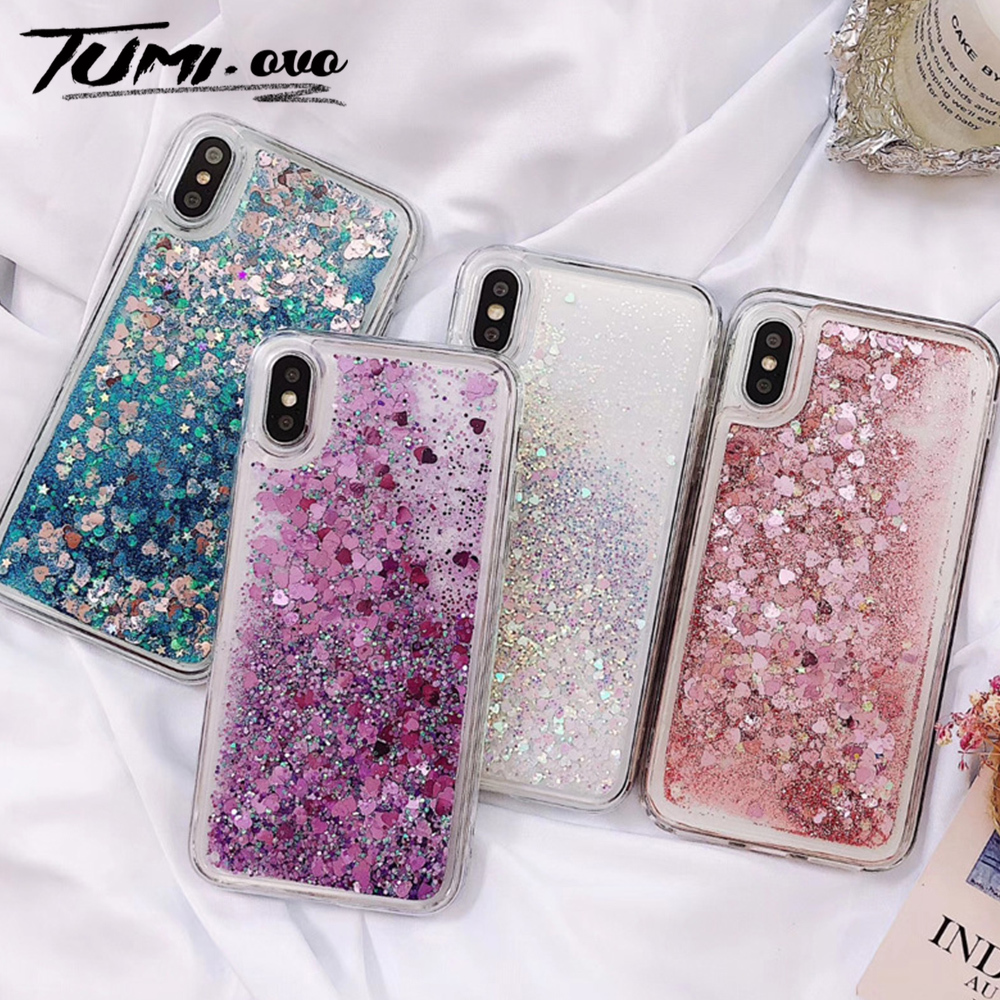 Pink Love Heart Glitter Phone Case For IPhone XS Max X XR Liquid Quicksand Case For IPhone 5S 6S 6 7 8 Plus Cover Bling Sequins