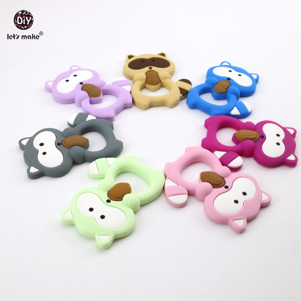 Let's Make Baby Silicone Teether Raccoon 10pc Lovely BPA Free Raccoon Teether Shower Gift DIY Necklace Teething Baby Teether
