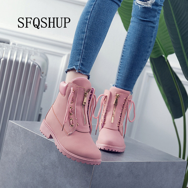 8a00cc80c4e SFQSHUP New 2018 winter Lace-Up Fashion ankle boots for women botas  femininas black hunter martin boots Size woman shoes