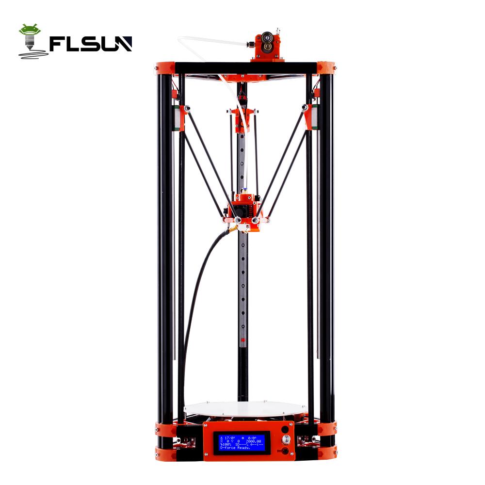 Prix pour 2017 LCD Diy FLSUN 3d En Métal Imprimante, grande Taille D'impression 3d-imprimante Delta Kossel 3d Imprimante Kit Un Rouleau Filament SD Carte