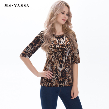 Elastic shirts leo print half sleeve O-neck loose tops tees