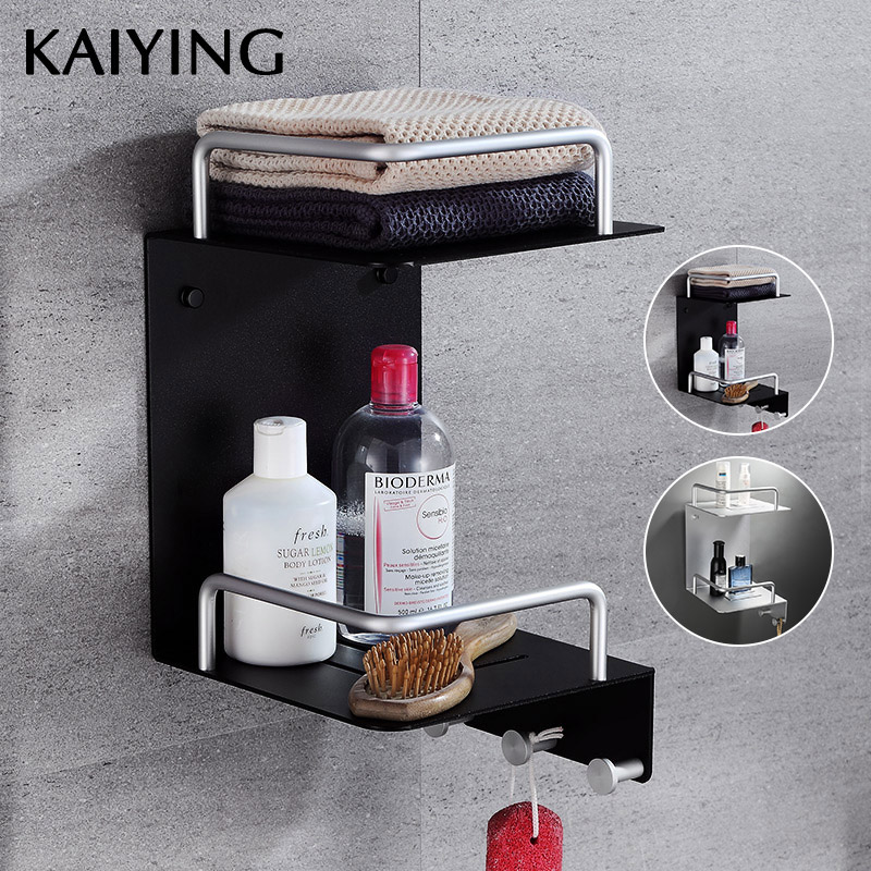 KAIYING Aluminum Bathroom Corner Shelf Basket Wall Mounted Cosmetic Storage Rack With Double Layer Households Rack,Black/Silver футболка рингер printio мой сосед тоторо