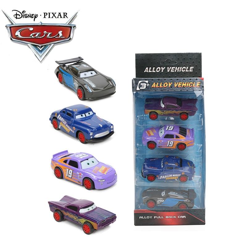 9cm 4pcs Disney Pixar Cars 3 Toys Lightning McQueen Mater Jackson Storm Cruz Ramirez Diecast Metal Pull Back Car Model Boys Gift