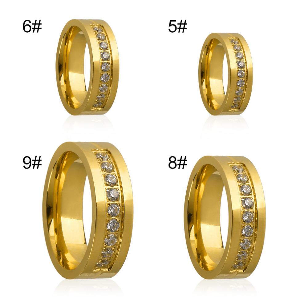 GENBOLI Stainless Steel Ring For Women Cubic Zirconia High Polished IP Gold Plating Ring Wedding Proposal Ring Accessory hot