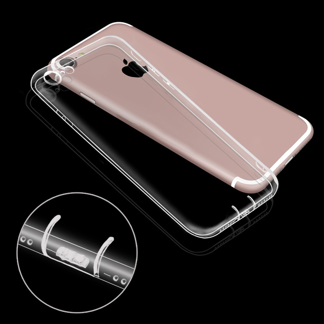Luxury Case For Iphone 6 6S Silicone Cover Brand Clear Rubber Slim Ultra Thin Transparent Soft TPU Case For Iphone 6S 7 Plus 5