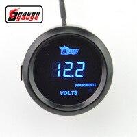 Dragon gauge 52mm Black Shell blue LED backLight auto Car motorcycle 12V voltage meter Volt gauge Measurement range 8-18V