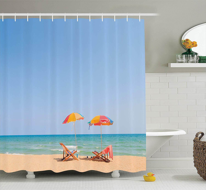 Us 16 97 45 Off Seaside Decor Shower Curtain Beach Chair Umbrella On Beach Leisure Tourist Attractions Decorative Photo Bathroom Accessories In