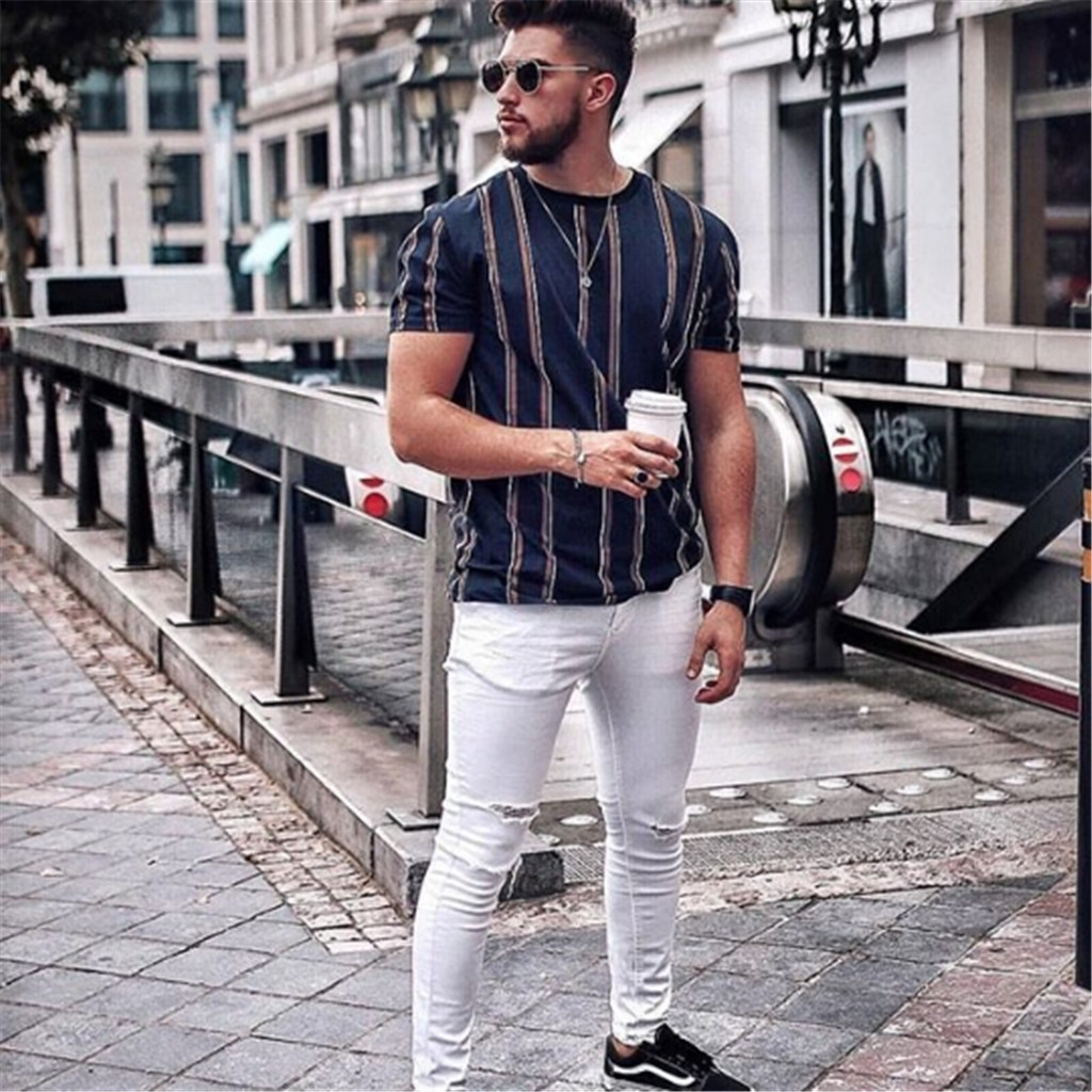 Man M-3xl Size Summer Short-sleeved Cotton   T  -  shirt   Fashion Casual Fat Guy Loose Vertical Striped Large Size   Shirt   Man hot sale