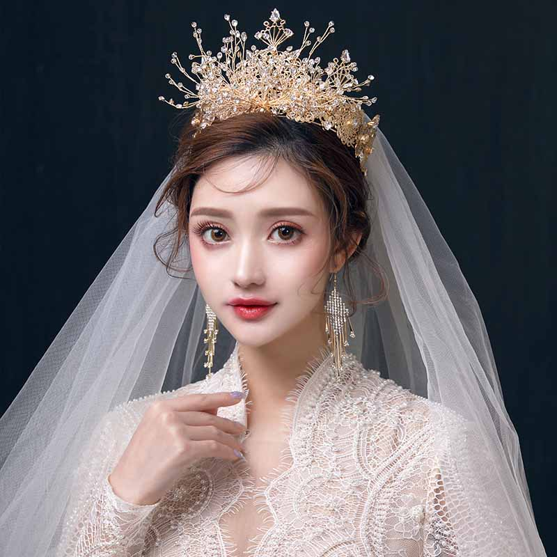 Luxury Gold Crystal Queen Crowns and Earrings Set Wedding Bride Princess Crown Bridal Diadem Hair Accessories Baroque Headband