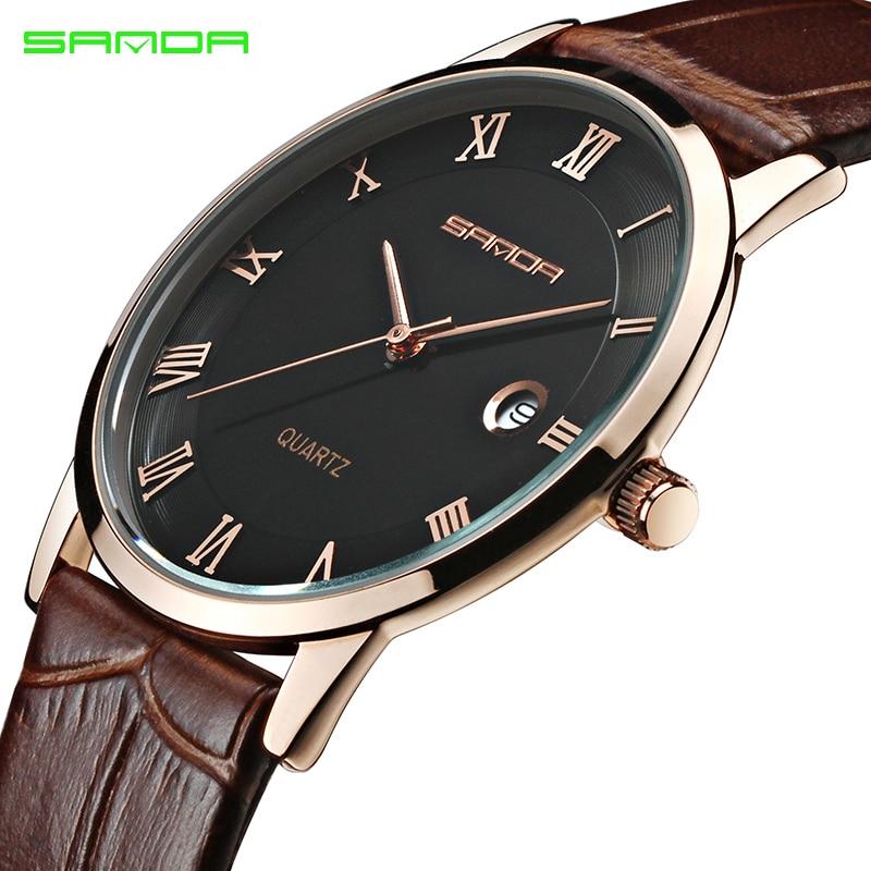 f504a4a32bd SANDA Couro Men Watch Mens Super Slim Top Marca de Luxo Negócio Masculino  Data Relógio de Pulso Reloj Relogio masculino 2019 Saat em Relógios de  quartzo de ...